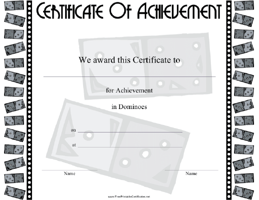 picture about Printable Dominos titled Dominoes Printable Certification
