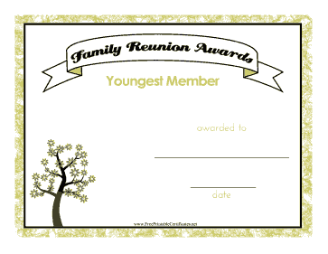 graphic regarding Free Printable Family Reunion Certificates referred to as Family members Reunion Youngest Member Printable Certification