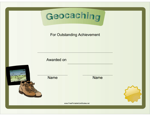 photo relating to Official Geocache Printable named Geocaching Accomplishment Printable Certification