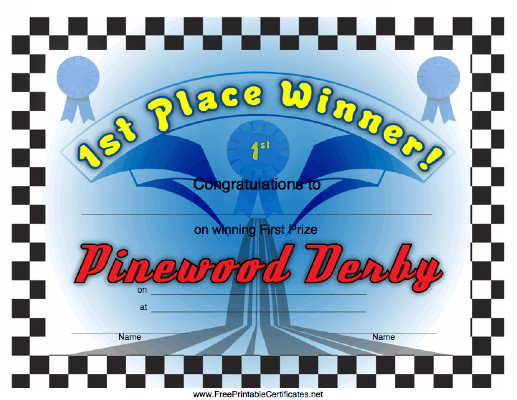 image regarding Free Printable Pinewood Derby Certificates identified as Pinewood Derby 1st Destination Printable Certification