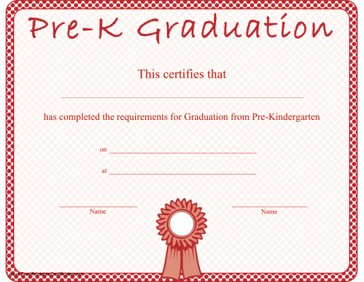 picture about Pre Kindergarten Diploma Printable named Pre-Kindergarten Commencement Certification Printable Certification