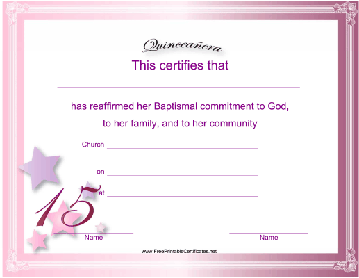 picture relating to Printable Quinceanera Checklist named Quinceanera Certification Printable Certification