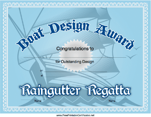 graphic about Pinewood Derby Awards Printable named Raingutter Regatta Style and design Award Printable Certification