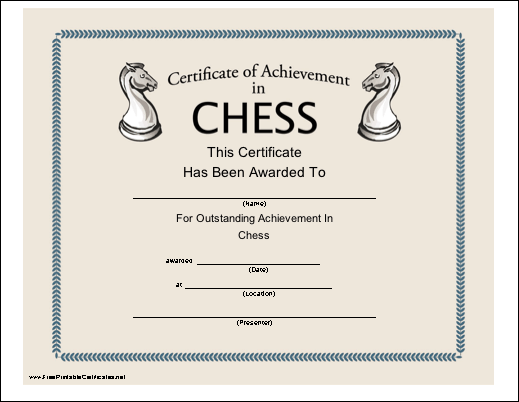 chess certificate achievement printable certificates outstanding customizable puzzles playing knights awards play knight worksheets games version