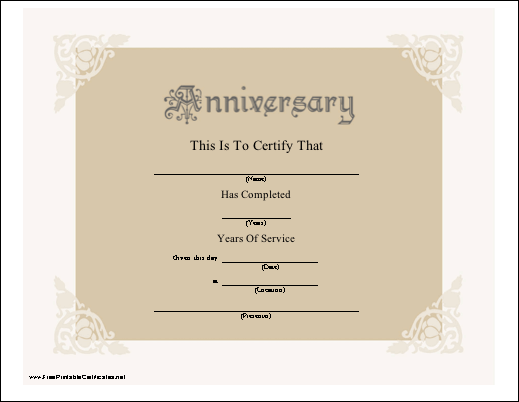 picture about Printable Certificate Paper referred to as Anniversary Certification Printable Certification