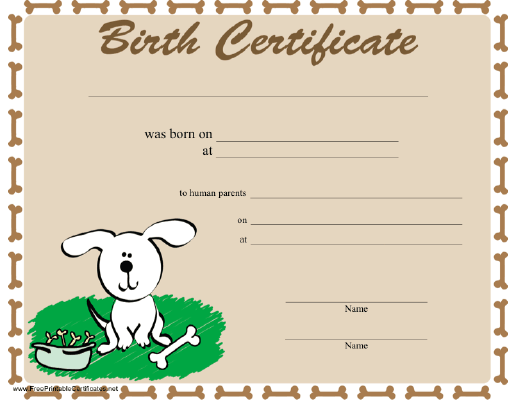 This is a photo of Printable Puppy Birth Certificate intended for reborn