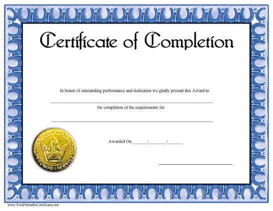 It is a graphic of Printable Certificate of Completion throughout internship