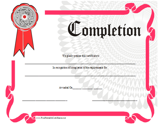 photo about Free Printable Certificate of Completion called Certification of Completion Printable Certification
