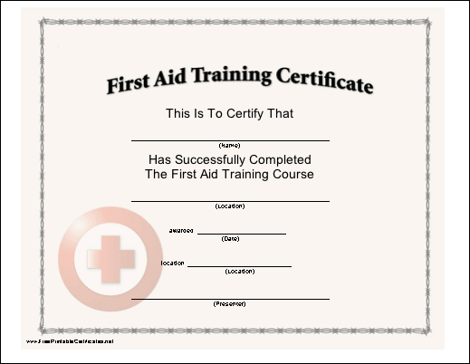 First Aid Training Printable Certificate