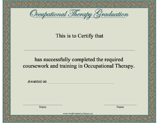 photograph regarding Printable Graduation Certificate known as Occupational Treatment Commencement Printable Certification