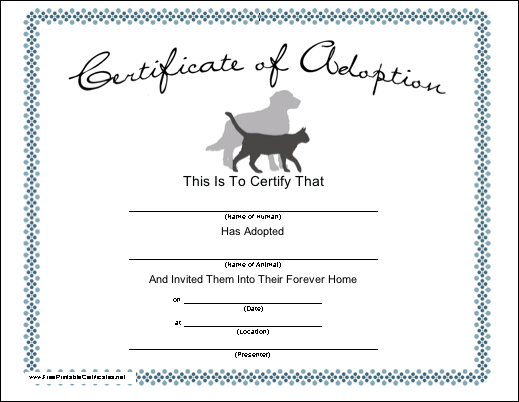 graphic about Free Printable Adoption Papers named Pet dog Adoption Printable Certification