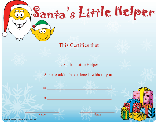 Santa's Little Helper Certificate Printable Certificate