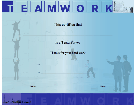 teamwork_certificate_blue Teamwork Appreciation Letter Template on quotes about, letter for great, award certificate,