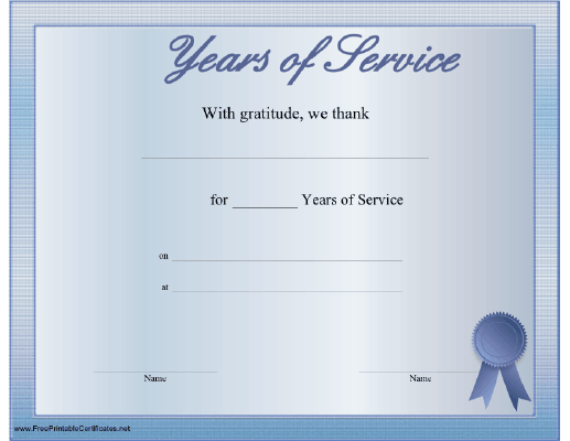 certificate service printable certificates anniversary templates template faithful number award seal appreciation recipient awards ribbon quotes thanking any visit sample