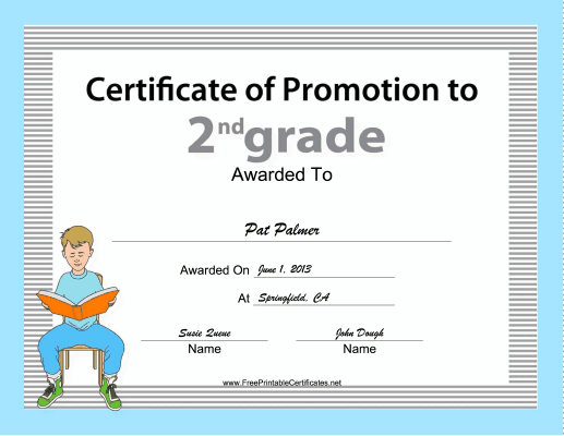 2nd Grade Promotion Certificate Printable Certificate