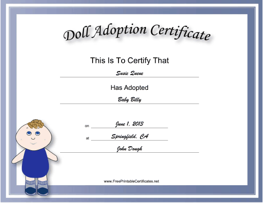 photograph relating to Free Printable Adoption Certificate titled Adoption Certification Little one Doll Educational Certification