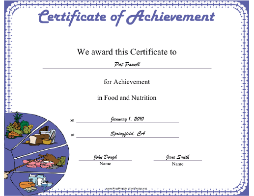 nutrition certificate printable