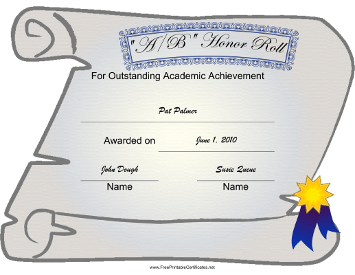 picture relating to Free Printable Honor Roll Certificates called AB Honor Roll Printable Certification