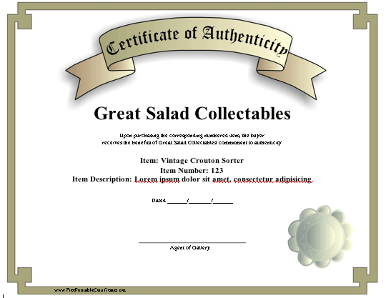 photograph relating to Printable Certificate of Authenticity identify Certification of Authenticity Printable Certification