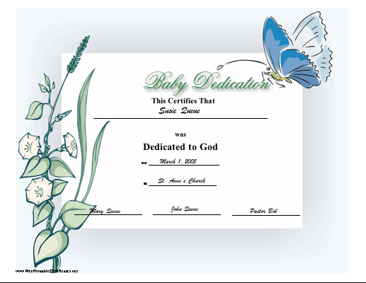 picture relating to Printable Baby Dedication Certificate identified as Little one Perseverance Certification Printable Certification