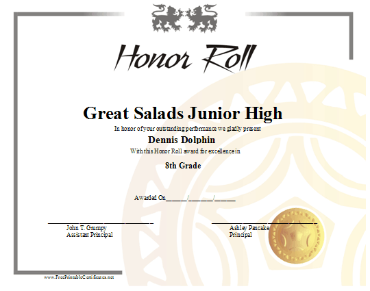 graphic about Free Printable Honor Roll Certificates named Honor Roll Certification Printable Certification
