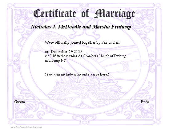 It's just a graphic of Printable Marriage Certificate regarding gothic
