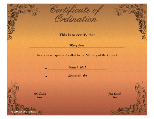 image about Printable Ordination Certificate called Ordination Certification Printable Certification