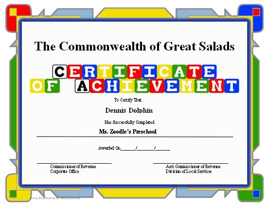 image about Free Printable Certificates of Achievement known as Certification of Success - Preschool Printable Certification