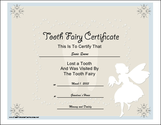 picture about Printable Tooth Fairy Certificate known as Enamel Fairy Certification Printable Certification