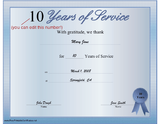 Years Of Service Certificate Printable Certificate