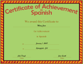 Education certificates free printable certificates achievement in spanish yadclub Images