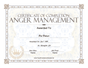 Anger Management  Certification Of Completion Template