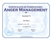Anger Management Completion  Certificate Of Completion Template Free