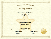 Safety Patrol Achievement  Free Certificate Of Achievement
