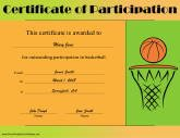 Sports certificates free printable certificates basketball participation yadclub Images