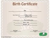 Birth Certificate For Puppies  Fake Birth Certificate Template Free