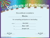 Cheerleading Participation  Printable Certificate Of Participation