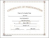 Participation  Printable Certificate Of Participation