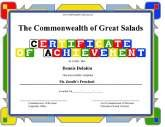 Achievement   Preschool  Certificate Of Achievement Sample