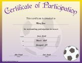 Soccer Participation  Printable Certificate Of Participation